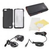 HTC One V Essential Bundle Package w/ Black Rubberized Hard Case, Screen Protector, Leather Pouch, Car & Travel Charger