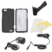 HTC One V Essential Bundle Package w/ Black Rubberized Hard Case, Screen Protector, Portable Stand, Car & Travel Charger