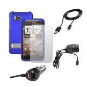 HTC Thunderbolt Blue Hard Case, Screen Protector, Car Charger, Travel Charger, and Original HTC Data Cable Essential Bundle