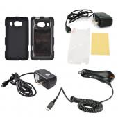HTC Titan 2 Essential Bundle Package w/ Black Rubberized Hard Case, Screen Protector, Portable Stand, Car & Travel Charger