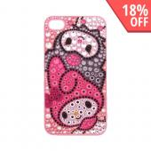 Officially Licensed Sanrio Kuromi & My Melody AT&T/ Verizon Apple iPhone 4, iPhone 4S iDress Bling Hard Case, I4S-KU2 - Gray Kuromi, Pink My Melody on Pink/ Gray Gems
