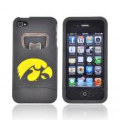 AT&T/ Verizon Apple iPhone 4, iPhone 4S Rubberized Bottle Opener Hard Case - Yellow Iowa Hawkeyes on Black