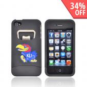AT&T/ Verizon Apple iPhone 4, iPhone 4S Rubberized Bottle Opener Hard Case - Red Kansas Jayhawkes on Black