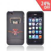 AT&T/ Verizon Apple iPhone 4, iPhone 4S Rubberized Bottle Opener Hard Case - Texas Tech Red Raiders on Black