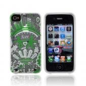 Original iLuv Apple iPhone 4 Soft-Coated TPU Silicone Case w/ Screen Protector, ICC725WHT - Green Dream