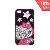 Officially Licensed Sanrio Hello Kitty AT&T/ Verizon Apple iPhone 4, iPhone 4S iDress Bling Hard Case, ID-58KT - Pink/ Purple Stars Hello Kitty on Black Gems