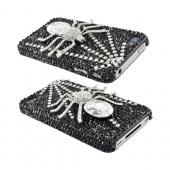 Super Ultra-Premium AT&T Apple iPhone 4 Handmade 3D Swarovski Compatible Bling Hard Case - Silver Diamond Spider on Black Gems