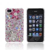 Super Ultra-Premium AT&T Apple iPhone 4 Handmade 3D Swarovski Compatible Bling Hard Case - Pink/ White Flowers on Pink/ Silver Gems