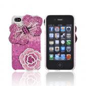 Super Ultra-Premium AT&T Apple iPhone 4 Handmade 3D Swarovski Compatible Bling Hard Case - Pink Flower & Rose on Pink/ Silver Gems