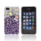 Super Ultra-Premium AT&T Apple iPhone 4 Handmade 3D Swarovski Compatible Bling Hard Case - Swans on Purple/ Silver Gems