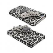 Super Ultra-Premium AT&T Apple iPhone 4 Handmade 3D Swarovski Compatible Bling Hard Case - Silver/ Black Snow Leopard on Black/ Silver Leopard Gems
