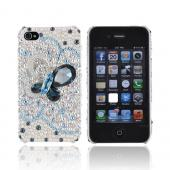 Super Ultra-Premium AT&T Apple iPhone 4 Handmade 3D Swarovski Compatible Bling Hard Case - Teal/ Diamond Butterfly on Silver/ Iridescent Gems
