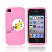 Original EZ Capes Apple iPhone 4 Silicone Case, IP4-HBPK - Moon Bird on Pink