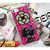 Hello Kitty Silhouette w/ Mirror Flower on Hot Pink & Purple Jewels Clear Hard Case for Apple iPhone 5/5S