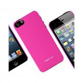 Apple iPhone 5 Vital Bundle w/ Rearth Slim Hot Pink Rubberized Hard Case & Clear Screen Protector
