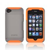 Original Incipio Stowaway AT&T/ Verizon Apple iPhone 4, iPhone 4S Hard Case on Silicone w/ ID & Card Compartment & Screen Protector, IPH-678 - Gray/ Orange