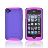 Original Incipio Stowaway AT&T/ Verizon Apple iPhone 4, iPhone 4S Hard Case on Silicone w/ ID & Card Compartment & Screen Protector, IPH-679 - Purple/ Pink