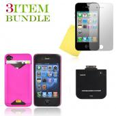 Apple iPhone 4 Bundle Package - Case-Mate ID Case, Mirror Screen Protector & External Battery - (Clubber Combo)