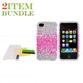 Apple iPhone 4 Bundle Package - Bling Hard Case & Mirror Screen Protector - (Clubber Combo)