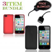 Apple iPhone 4 Bundle Package - Red Hard Case, Silicone Case & Travel Charger - (Essential Combo)