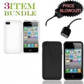Apple iPhone 4 Bundle Package - White Hard Case, Silicone Case & Travel Charger - (Essential Combo)