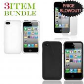 Apple iPhone 4 Bundle Package - White Hard Case, Silicone Case & Screen Protector - (Essential Combo)