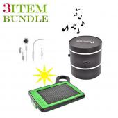 Apple iPhone 4 Bundle Package - Solar Charger & Car Charger, Apple Stereo Headset & Vulcan Phantom Portable Speaker - (Traveller Combo)