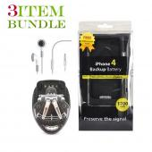 Apple iPhone 4 Bundle Package - Universal Battery Travel Charger, Backup Battery Rubberized Case & Apple Stereo Headset - (Traveller Combo)