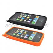 Apple iPhone 4 Silicone Case Combo - Orange and Black Lil Monsters w/ Horns