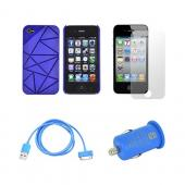 AT&T/ Verizon Apple iPhone 4, iPhone 4S Blue Bundle w/ Hard Case w/ Geometric Shapes, Turquoise Data Cable, Blue USB Car Adapter, & Screen Protector