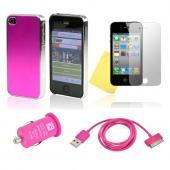 AT&T/ Verizon Apple iPhone 4, iPhone 4S Hot Pink Bundle w/ Hard Case w/ Hot Pink Aluminum Back, Hot Pink Data Cable, Hot Pink USB Car Adapter, & Mirror Screen Protector