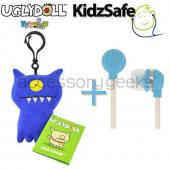 UGLYDOLL Uglydog Charm + Kidzsafe KonoAudio Blue 3.5mm Headset, COMBO for BLUE Lovers
