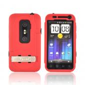 Original Trident Kraken AMS HTC EVO 3D Hard Case Over Silicone w/ Screen Protector, Kickstand, & Belt-Clip, KKN2-EVO-3D-RD - Red/ Black