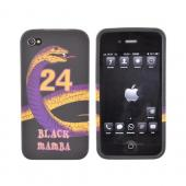 AT&T / Verizon iPhone 4, iPhone 4S Lakers Bundle w/ Black Mamba Crystal Silicone Case, Lakers Leather Pouch, & Car Charger