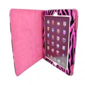 Apple iPad 2, New iPad Leather Stand Case w/ Magnetic Closure - Hot Pink/ Black Zebra