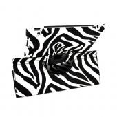 Premium Apple iPad (2nd & 3rd Gen.) Leather Case Stand w/ Rotatable Shield - Black/ White Zebra