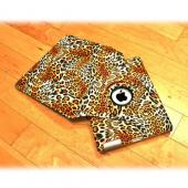 Premium Apple iPad (2nd & 3rd Gen.) Leather Case Stand w/ Rotatable Shield - Orange/ White Leopard