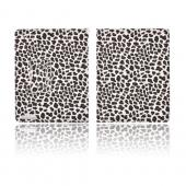 Premium Apple iPad 2/ New iPad Leather Stand Case w/ Magnetic Closure - White/ Brown Leopard