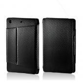 Black/ Gray Carbon Fiber Design Leather Case w/ Stand for Apple iPad Mini