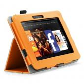 Orange Faux Leather Case Stand w/ Magnetic Closure for Amazon Kindle Fire HD