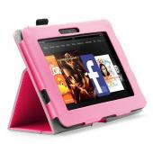 Pink Faux Leather Case Stand w/ Magnetic Closure for Amazon Kindle Fire HD