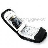 Motorola W385 Leather Case w/ Strap - Black