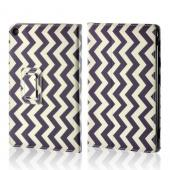 "Purple/ White Zig Zag Faux Leather Case w/ Stand for Universal 7"" Tablets (Like iPad Mini or Nexus 7)"