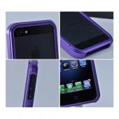 Premium Purple Aluminum Bumper Case w/ Slide-On Front for Apple iPhone 5/5S
