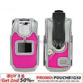 ZTE C88 Nylon Case Cover - Hot Pink w/ Silver Trim