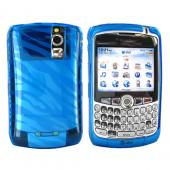 Blackberry Curve 8330, 8320, 8310, 8300 Crystal Silicone Case - Zebra Print on Transparent Blue