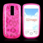 T-Mobile MyTouch 3G Crystal Silicone Case, Rubber Skin - Leopard Print on Transparent Hot Pink