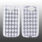 Google Nexus One Crystal Silicone Case - Argyle Print on Transparent Clear