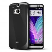 Black Crystal Silicone TPU Flexible Skin Case w/ Free Screen Protector for HTC One (M8)