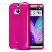 Hot Pink/ Frosted Crystal Silicone TPU Flexible Skin Case for HTC One (M8)